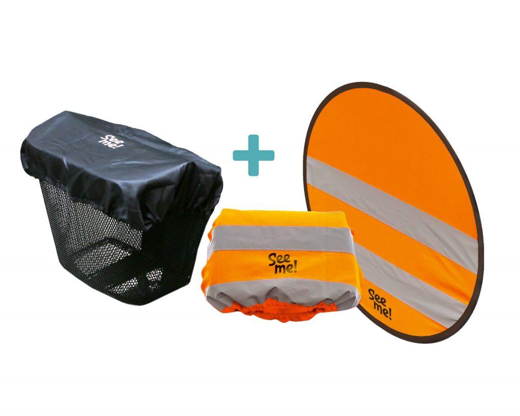 Hoofdsteunhoes + rug-reflectie + afdekhoes mandje voor scootmobiel